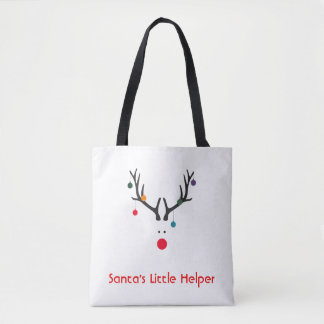 Tote Bag Renne minimaliste drôle de l'aide de Père Noël sur