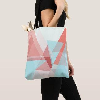 Tote Bag Résumé à de jolies nuances d'aqua, rose et crème