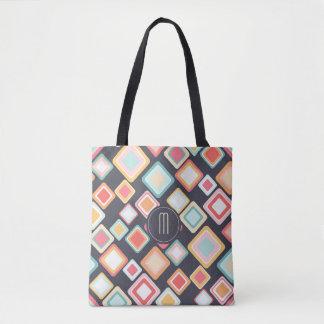 Tote Bag Rétro monogramme de motif de blocs géométriques