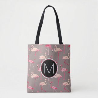 Tote Bag Rétro monogramme des flamants |