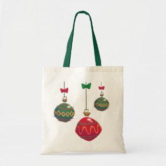 Tote Bag Rétros ornements rouges et verts de Noël
