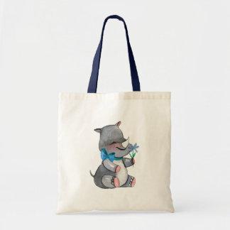 Tote Bag Rhinocéros de bébé avec la fleur et l'arc bleus