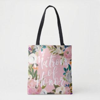 Tote Bag Rose floral de noce balayé par dame de honneur