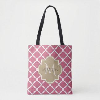 Tote Bag Rose rose Quatrefoil bronzage de monogramme chic