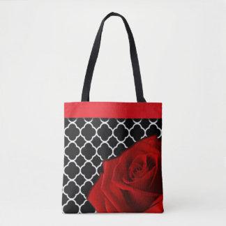 Tote Bag Rose rouge et motif de Quatrefoil