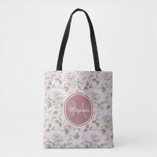 Tote Bag Roses crèmes élégants monogramme et nom floraux