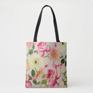 Tote Bag Roses et marguerites en pastel