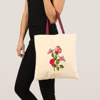 Tote Bag roses et papillons