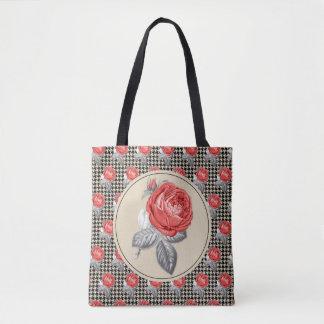 Tote Bag Roses roses vintages et motif de pied-de-poule