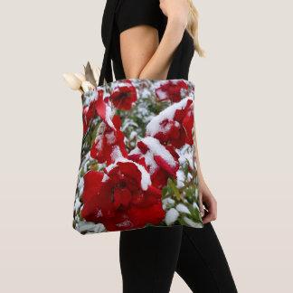 Tote Bag Roses rouges couverts par la neige et le givre
