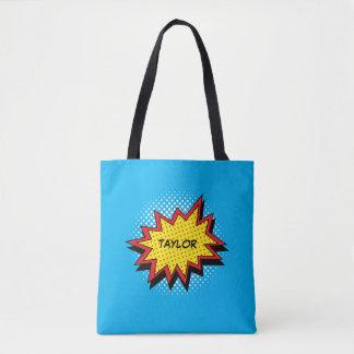 Tote Bag Rouge nommé coloré de style de bande dessinée