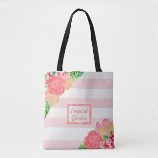 Tote Bag Rougissent le rêve tropical de rayure rose