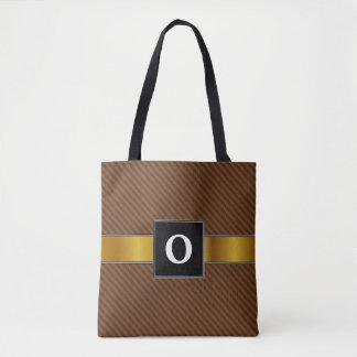 Tote Bag Rustique-Comme Brown foncé et rayures plus brun