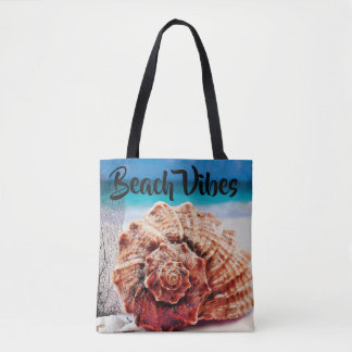 Tote Bag Sable personnalisé de Shell de mer d'océan de