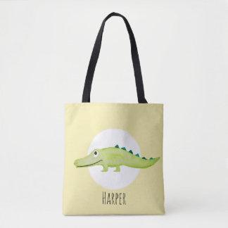 Tote Bag Safari unisexe de crocodile de bébé d'aquarelle