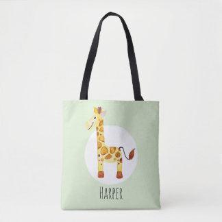 Tote Bag Safari unisexe de girafe de bébé d'aquarelle avec