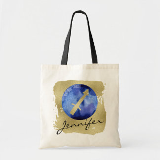 Tote Bag Sagittaire bleu de signe de zodiaque sur l'arrière