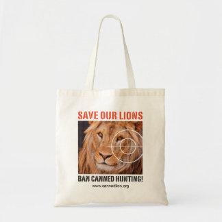 Tote Bag Sauvez nos lions - interdisez la chasse en boîte -