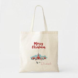Tote Bag Scène d'hiver avec une étoile rouge d'église et de