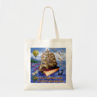 Tote Bag Scène d'océan de bateau de livre avec la citation