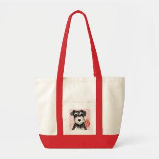 Tote Bag Schnauzer de rose de Valentine mini