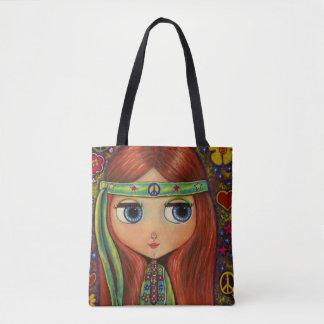 Tote Bag Signe de paix hippie de bandeau de vert de fille