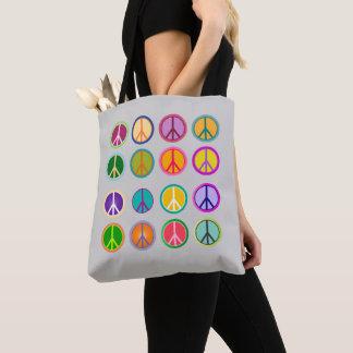 Tote Bag Signe de paix Popart hippie, soixante-dixième,