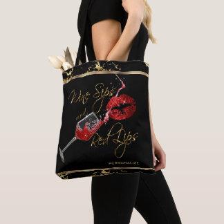 Tote Bag Sips de vin et lèvres rouges - marbre