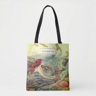 Tote Bag Sirène Girly vintage sous la mer personnalisée