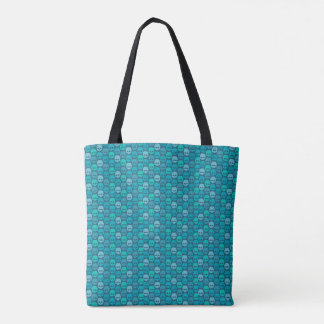 Tote Bag Skull pattern in blue and turquoise des couleurs