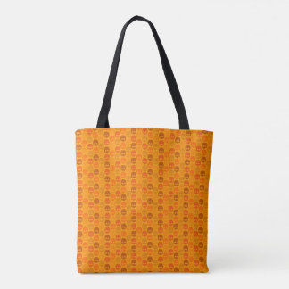 Tote Bag Skull pattern in orange des couleurs