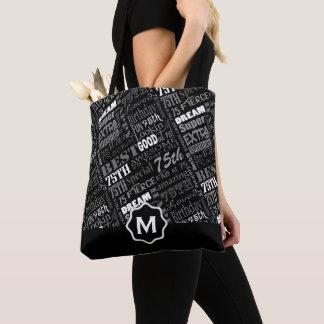 Tote Bag Soixante-quinzième monogramme personnalisé de fête