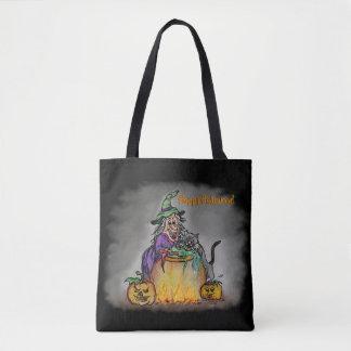 Tote Bag Sorcière et chat noir, Halloween heureux !