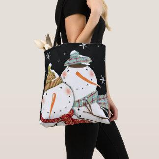 Tote Bag Sourires modernes de bonhommes de neige