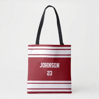 Tote Bag Sport Jersey rouge foncé et blanc - texte et
