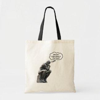 Tote Bag Statue drôle de penseur de Rodin - pizza ou