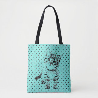 Tote Bag Stylo graphique noir de chat