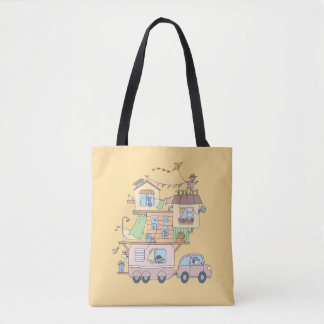 Tote Bag Sur la remorque de camping de famille de route sur