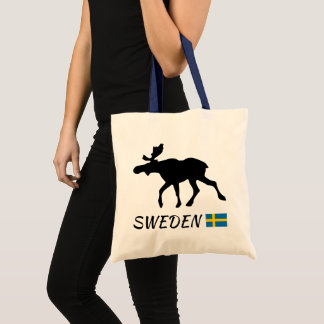 Tote Bag Sweden Elk and drapeau