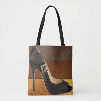 Tote Bag Talon haut noir avec des couleurs brunes d'or