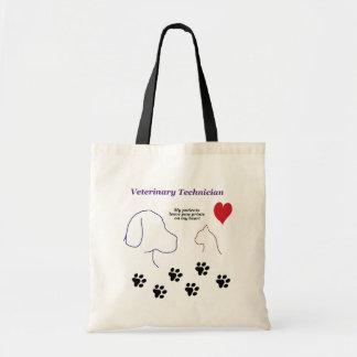 Tote Bag Technicien vétérinaire - empreintes de pattes sur