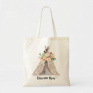 Tote Bag Teepee rêveur d'aquarelle de Boho grand et floral