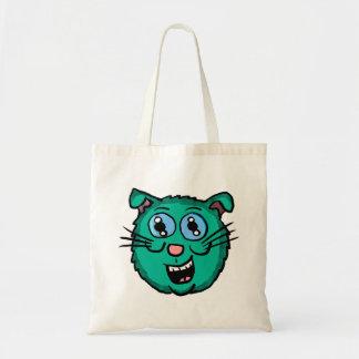 Tote Bag Tête verte de chat de bande dessinée