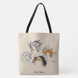 Tote Bag Têtes indigènes de licorne personnalisées avec le