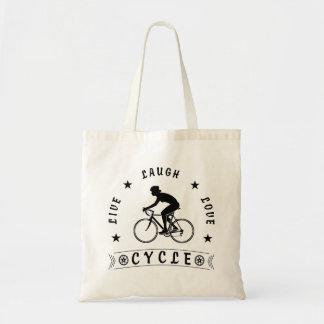 Tote Bag Texte de Live Laugh Love Cycle de Madame (noir)
