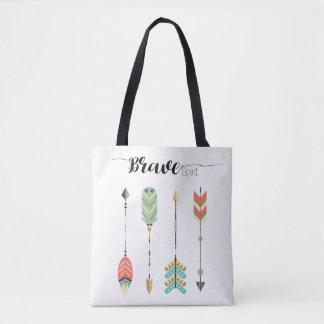 """Tote Bag Texte """"d'esprit courageux"""" et graphique  """