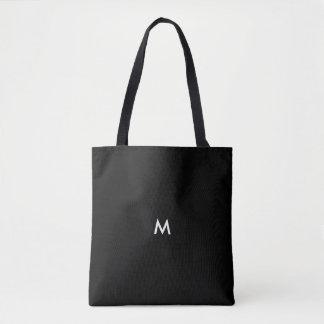 Tote Bag Texte facultatif noir solide ou initiale de