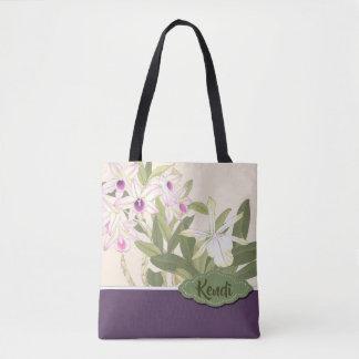 Tote Bag Texte japonais de coutume d'orchidée d'impression