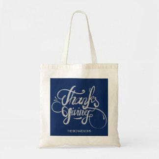 Tote Bag Thanksgiving argenté de conception des textes de