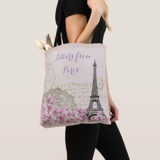 TOTE BAG TOUR EIFFEL DE PARIS, LETTRES ROMANTIQUES FLORALES